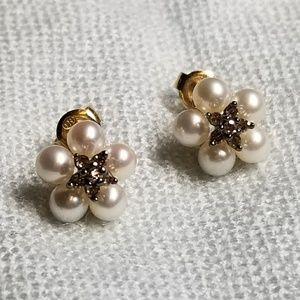 10K Diamond Pearl Cluster Earrings